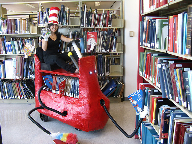 Cat in the Hat bookcart by guy_713 on Flickr