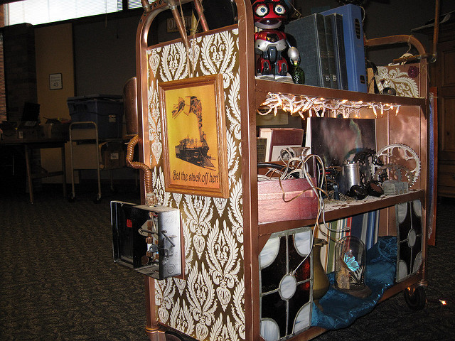 Steampunk bookcart by Hortense Jones on Flickr